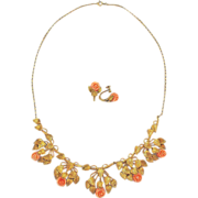 Antique Coral Silver Necklace Earrings Set Gold Washed