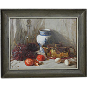 Vintage Still Life Fruits Oil on Masonite by R. Colao