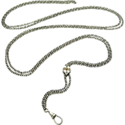 French 48 inch 800 silver guard chain with faux seed pearl and coral slide
