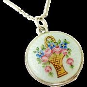 Beautiful European silver and enamel flower basket locket.