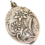 French silver plated art nouveau chatelaine mirror locket