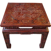 John Widdicomb Mid Century Carved and Painted Chinese End Table