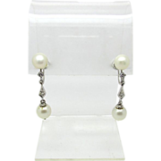 Marvelous Art Deco White Gold Diamond and Pearl Screwback Drop Earrings