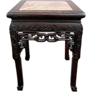 Antique Qing Chinese End Table ~ Marble Inlay