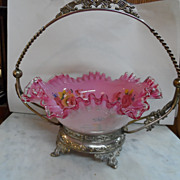 "Pink Ruffled Hand Blown / Hand Painted Glass ""Bride's Basket"" with Silverplated Handled Container"