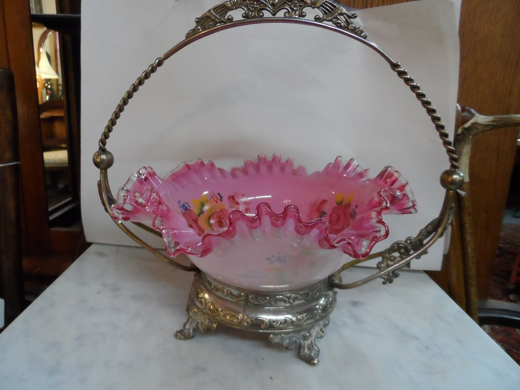 """Pink Ruffled Hand Blown / Hand Painted Glass """"Bride's Basket"""" with Silverplated Handled Container"""