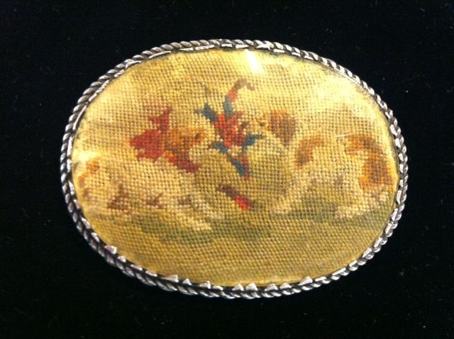Sterling Silver Pin/Brooch with Petit Point Dogs