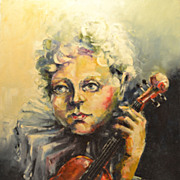 """Vintage Contemporary Impressionist Oil and Pastel on Canvas Painting Entitled """"Violinist """" Signed C. 20th Century"""