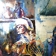Vintage Contemporary Impressionist Oil Painting Entitled French Horn  Signed