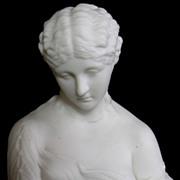 Fine Antique English Parian Bisque Porcelain Bust of Clytie C. 1870