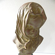 Gorgeous Antique French Art Nouveau Bust of HIVER by Louis Kley C. 1880-1910