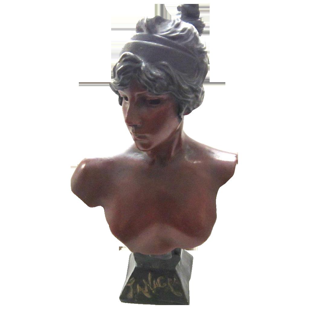 Superb Large Antique Art Nouveau Bust Of TANAGRA by E. Villanis C. 1880-1900