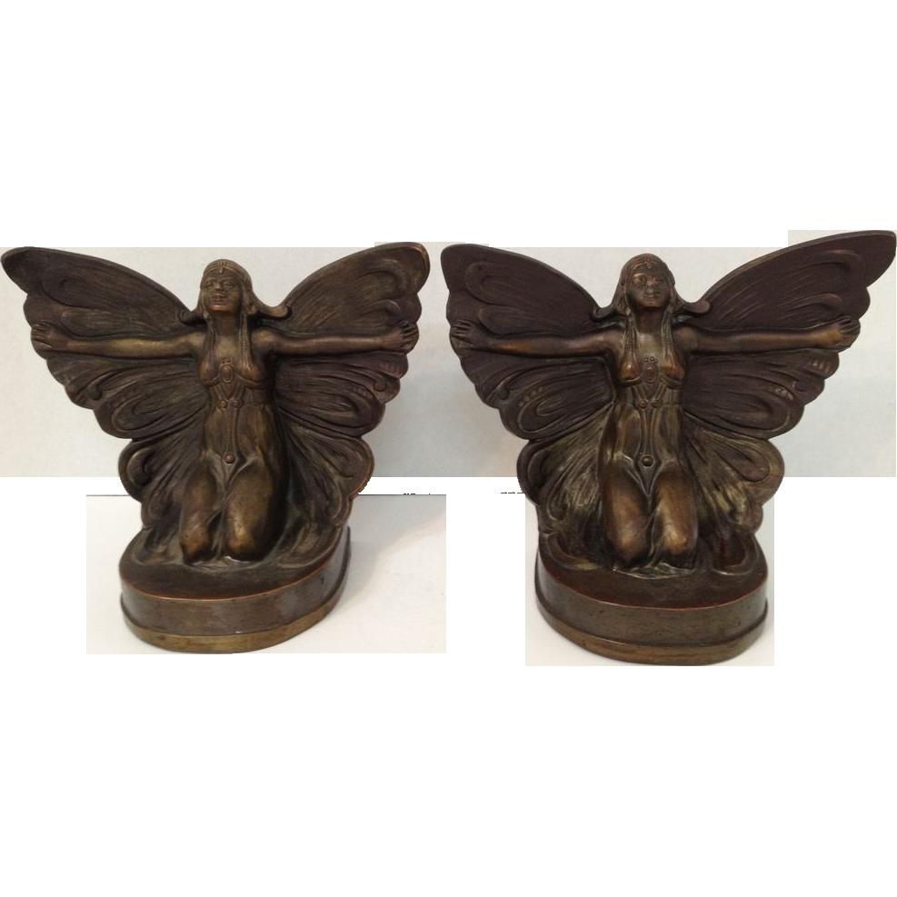 Beautiful Bronzed Art Nouveau / Art Deco Set Of Butterfly Girl Fairy Bookends C. 1922
