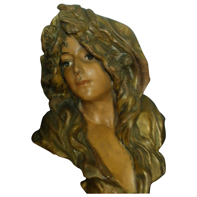 Magnificent Huge French Art Nouveau Terracotta Bust of L'HIVER C. 1880-1900