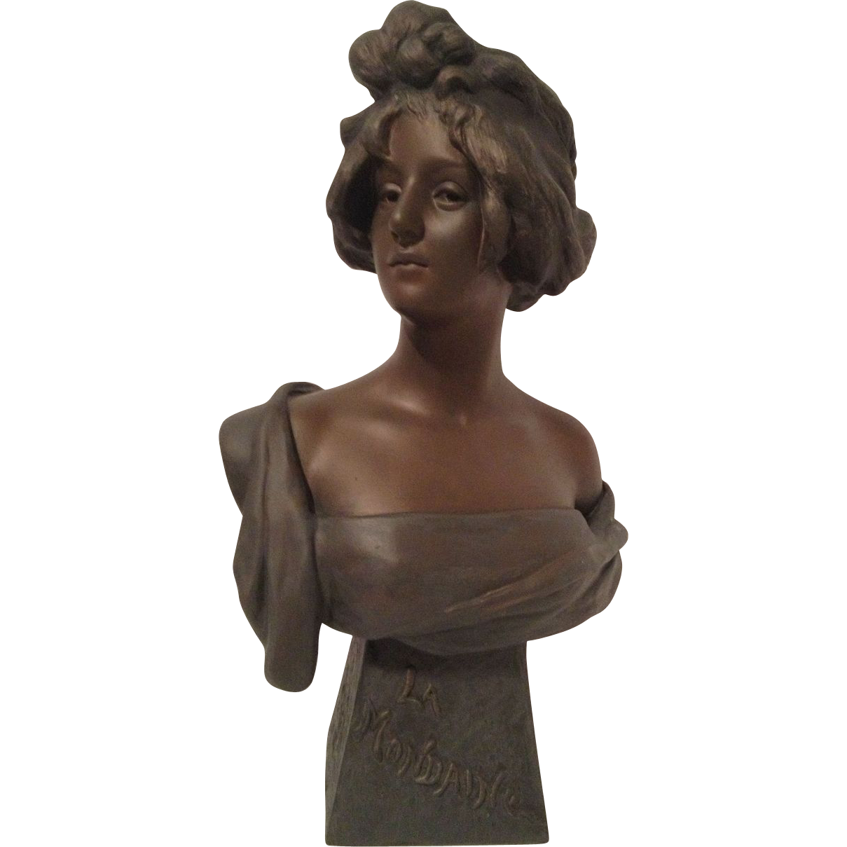 """Exquisite Large French Art Nouveau Bust of """"LA MONDAINE"""" or The Mondaine. C. 1880-1910"""