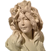Superb Art Nouveau French Bust of L'HIVER C. 1880-1900