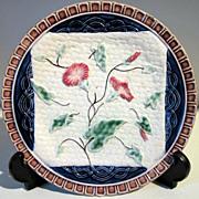 1880's Majolica Plate Morning Glory on Basket Weave