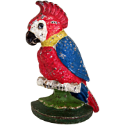 "Old 1930's Cast Iron Doorstop ""Polly Parrot """