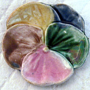 Antique Majolica Etruscan Pansy  Butter Pat