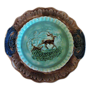 Antique Majolica Platter Dog and Stag Deer Circa 1880's