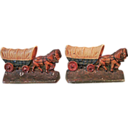 1930's Hubley Cast Iron Covered Wagon Bookends #378