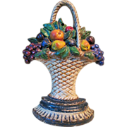 Vintage 1924 Cast Iron Fruit Basket Doorstop by Albany Foundry