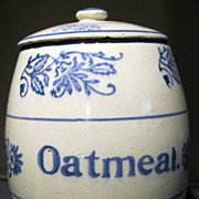 Blue and White Stoneware Wildflower Canister for Oatmeal