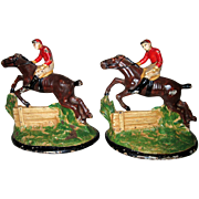 """Pair of 1930's Hubley """"Steeplechase"""" Cast Iron Bookends"""
