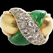 Diamond Pinky Ring | 18K Yellow Gold | Vintage Green Enamel Retro X