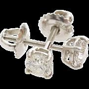 Diamond Stud Earrings | 14K White Gold | Vintage Brilliant Solitaire