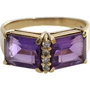 Amethyst Diamond Cocktail Ring | 14K Yellow Gold | Vintage Retro Bling