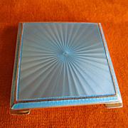 Sterling & Blue Enamel Guilloche Square Case