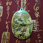 Mother of Pearl with Miniature Painting Pendant