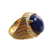 14K Gold Lapis Panetta Inspired Tiered Cocktail Ring with diamond surrounding