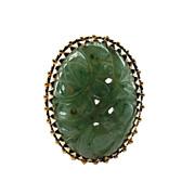 14K Gold Carved Jade Ring