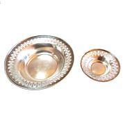 Sterling Candy Dishes Pierced Border S/2