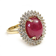 SALE 18K Gold Plated Sterling Ruby White Sapphires Cocktail Ring