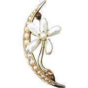 Edwardian Crescent Moon and Flower Brooch with Pearls