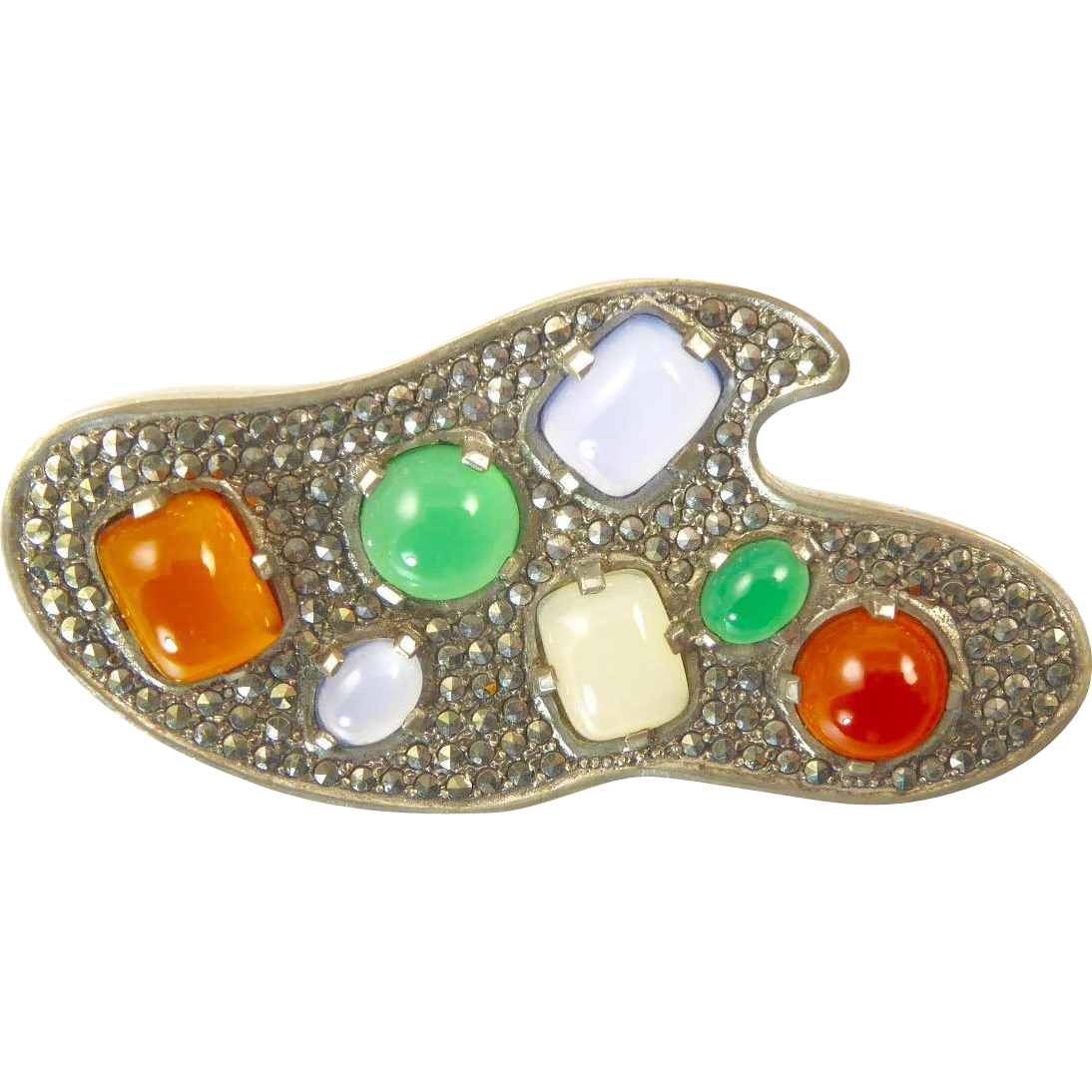 Modernist Silver Brooch with Chrysoprase, Chalcedony, Carnelian and Marcasites