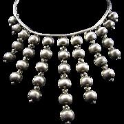 Modernist 800 Silver Bib with Cascading Balls