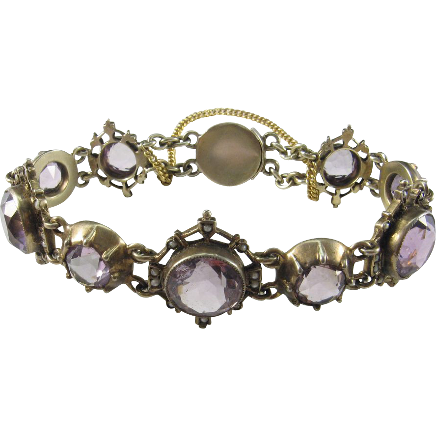 Glorious Amethyst, Seed Pearl, and Gilt Silver Bracelet