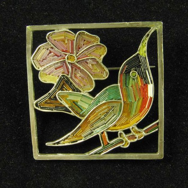 Micromosaic Hummingbird Brooch Set in Silver