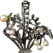 Vintage Cultured Pearl, Marcasite and Sterling Brooch / Pendant