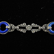 Art Deco Sterling, Lapis, and Marcasite Bracelet
