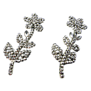 Rare Pair of Cut Steel Flower Brooches