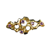 Brutalist Gold Brooch / Pendant with Amethysts
