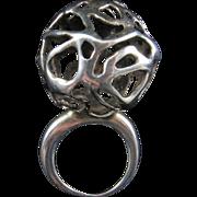 Huge Freeform Modernist Silver Ring