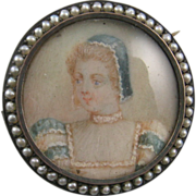 Victorian Portrait Miniature Brooch of Mary Queen of Scotts