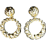 Groovy Large Gold-tone Hoop Earrings -  Dead Stock