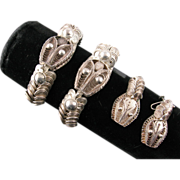Pair of Mexican Snake Bracelets and Matching Earrings